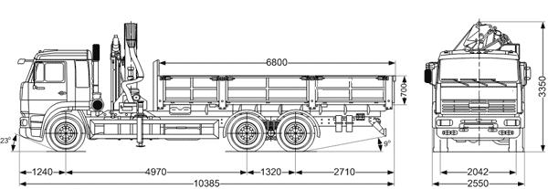 Чертеж камаз 65117 с краном манипулятором Palfinger - ООО ВИД